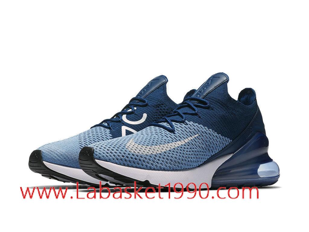 ... Nike Air Max 270 Flyknit Chaussures de Running Nike Pas Cher Pour Homme Bleu Noir AO1023 ...
