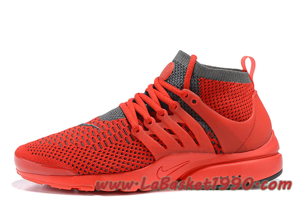 7f9bb5dd983 Nike Air Presto Ultra Flyknit 835570 ID1 Chaussures de BasketBall Pas Cher  Pour HOmme Rouge Gris