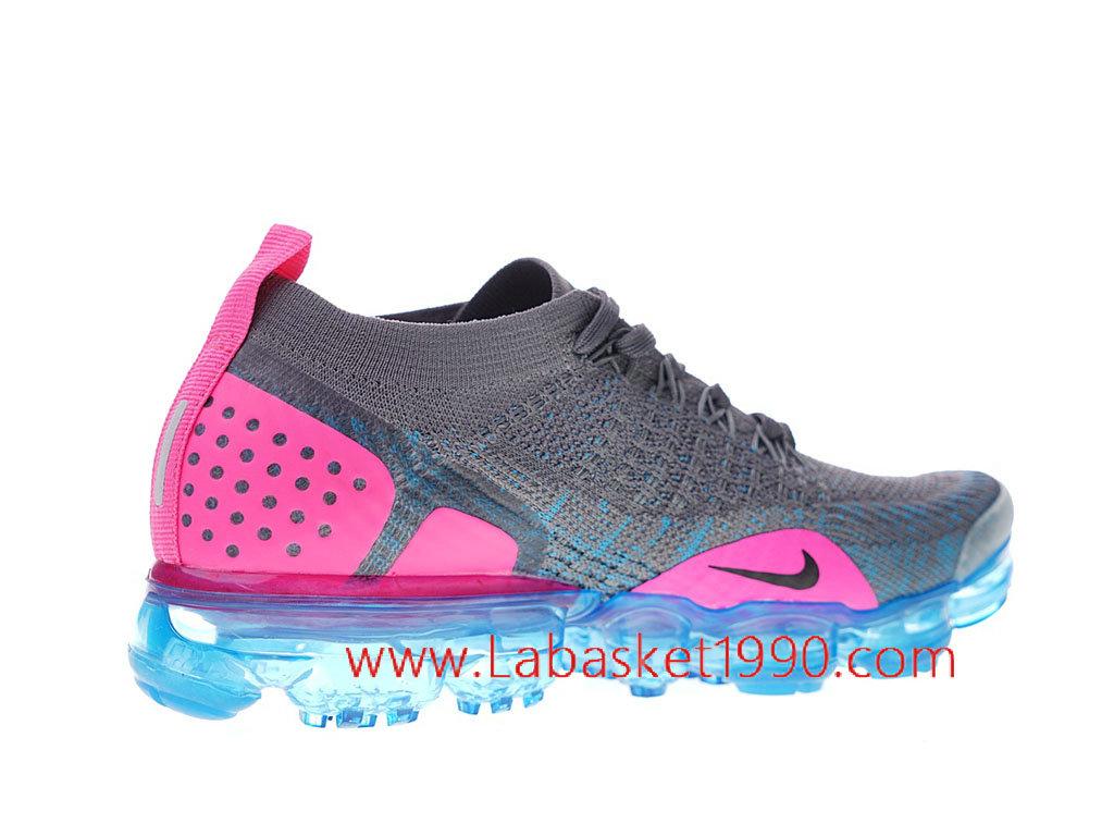 online store ed9d4 314b6 ... Nike Air Vapormax Flyknit 2 Chaussure de Running Pas Cher Pour  Femme Enfant Gris Rose ...