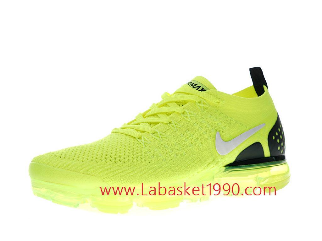 f6846c29ea370 ... Nike Air Vapormax Flyknit 2.0 Chaussures Officiel 2018 Pas Cher Pour  Homme Vert Noir 942842-