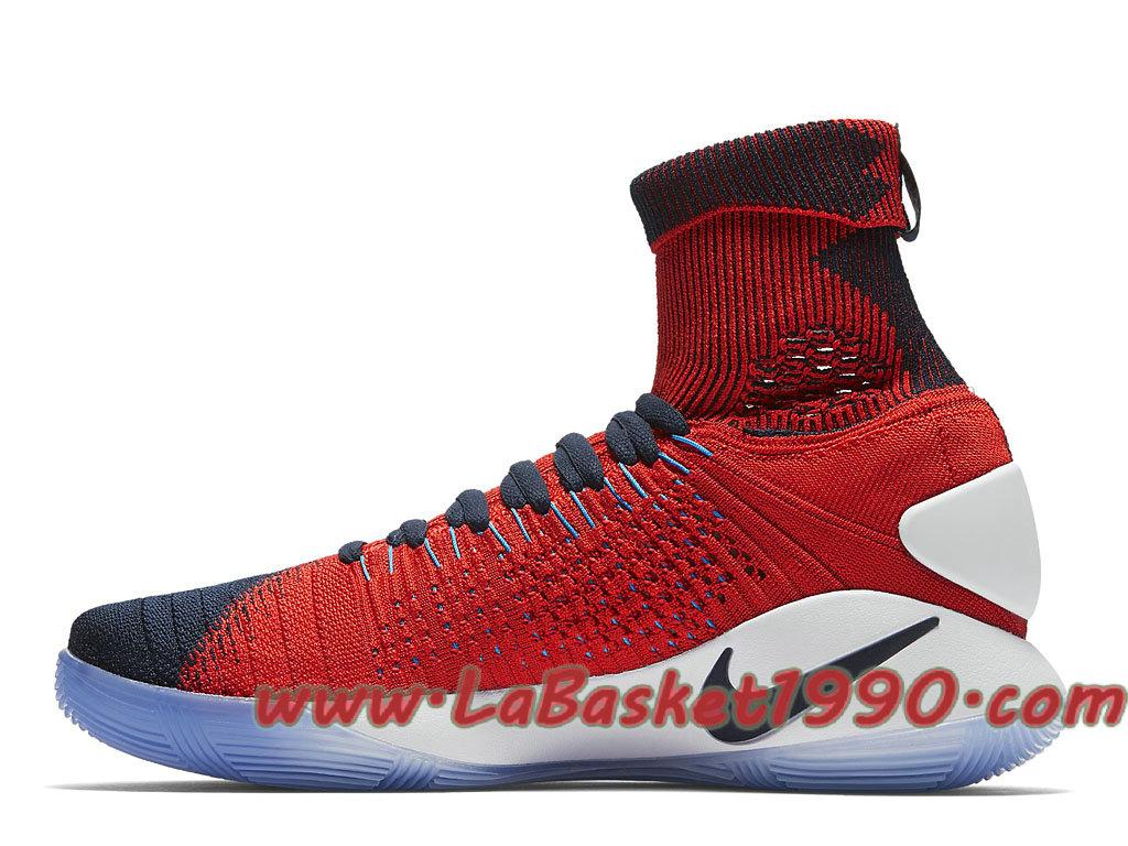 5d08c3e83cf5 ... Nike Hyperdunk 2016 Flyknit 843390-446 Chaussures Nike Basket Pas Cher  Pour Homme Noir Rouge ...