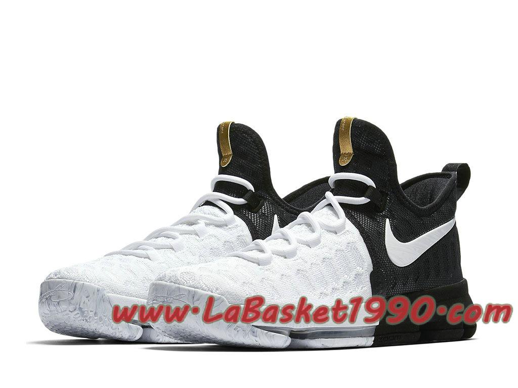 buy online ccb49 9c979 ... Nike KD 9 BHM 860637-100 Chaussures Nike Prix Pas Cher Pour Homme Noir  Blanc ...