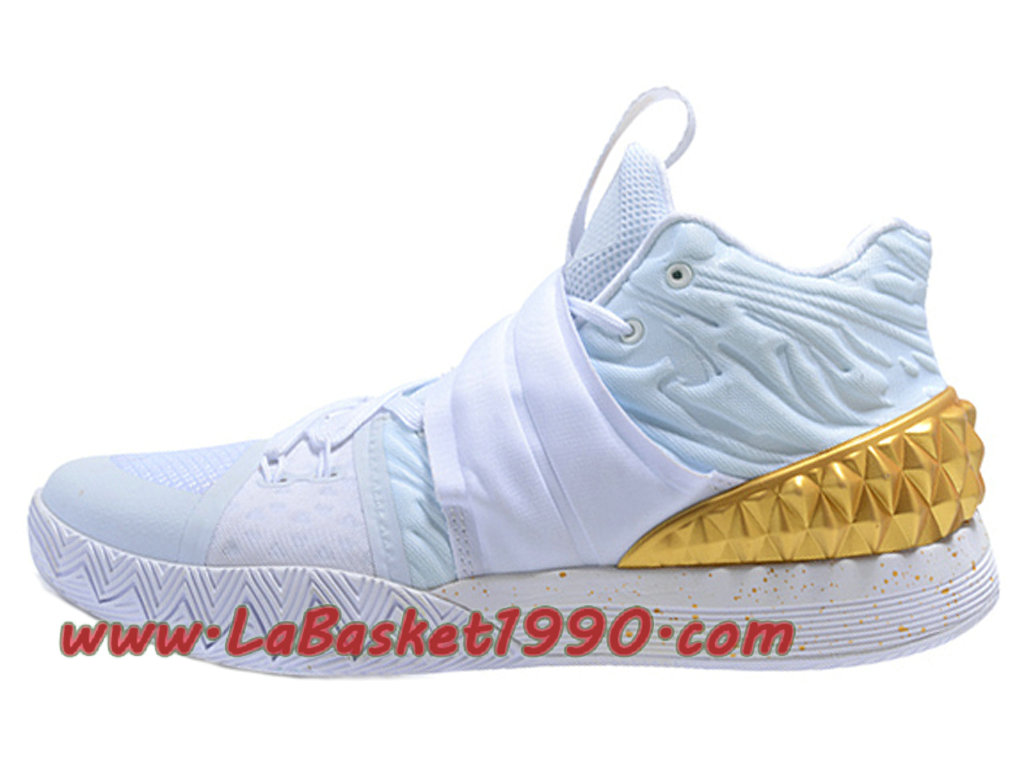 Nike Kyrie S1 Hybrid Chaussure de BasketBall Pas Cher Pour Homme Blanc Or  ... 1dcfe2daa308