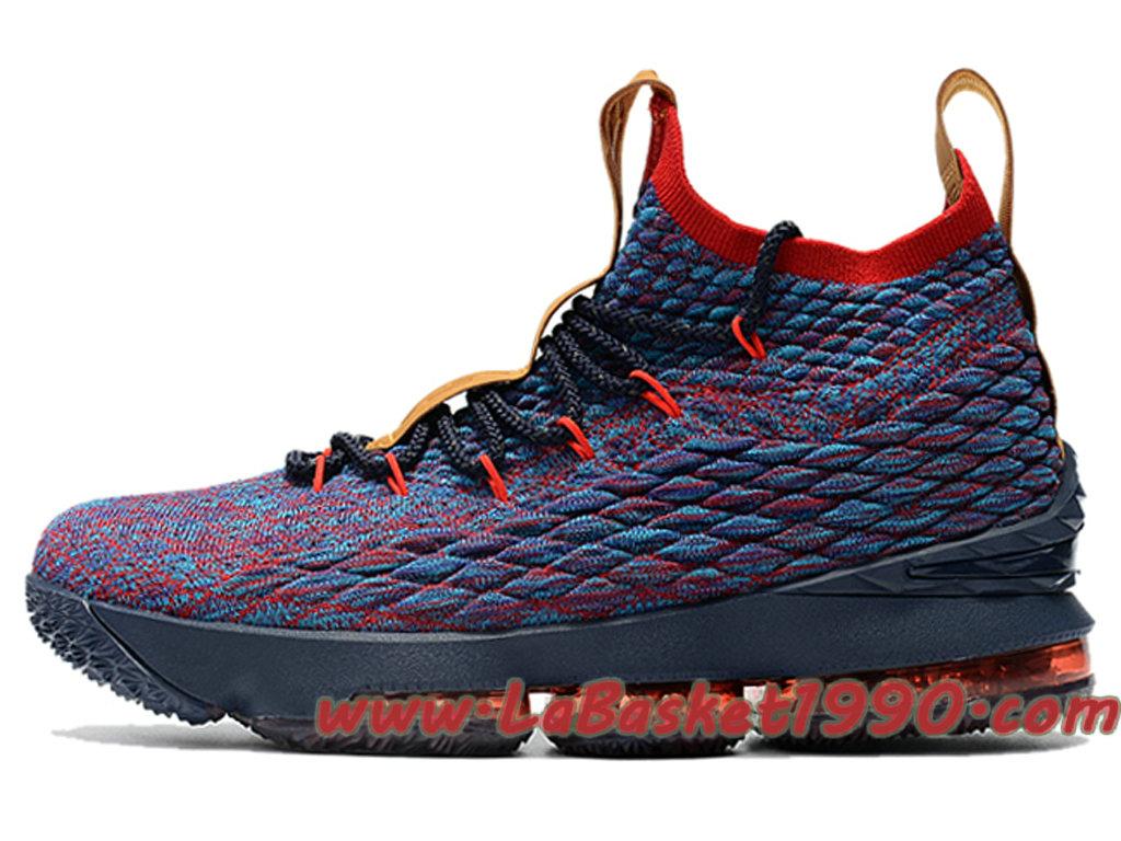 0991596b9d4 Nike LeBron 15 XV Chaussures Nike Basketball Pas Cher Pour Homme Bleu Rouge  ...