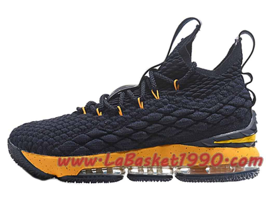 the best attitude 81848 14060 Nike LeBron 15 XV Chaussures Nike Prix Pas Cher Pour Homme Officiel Basket  Noir Jaune ...