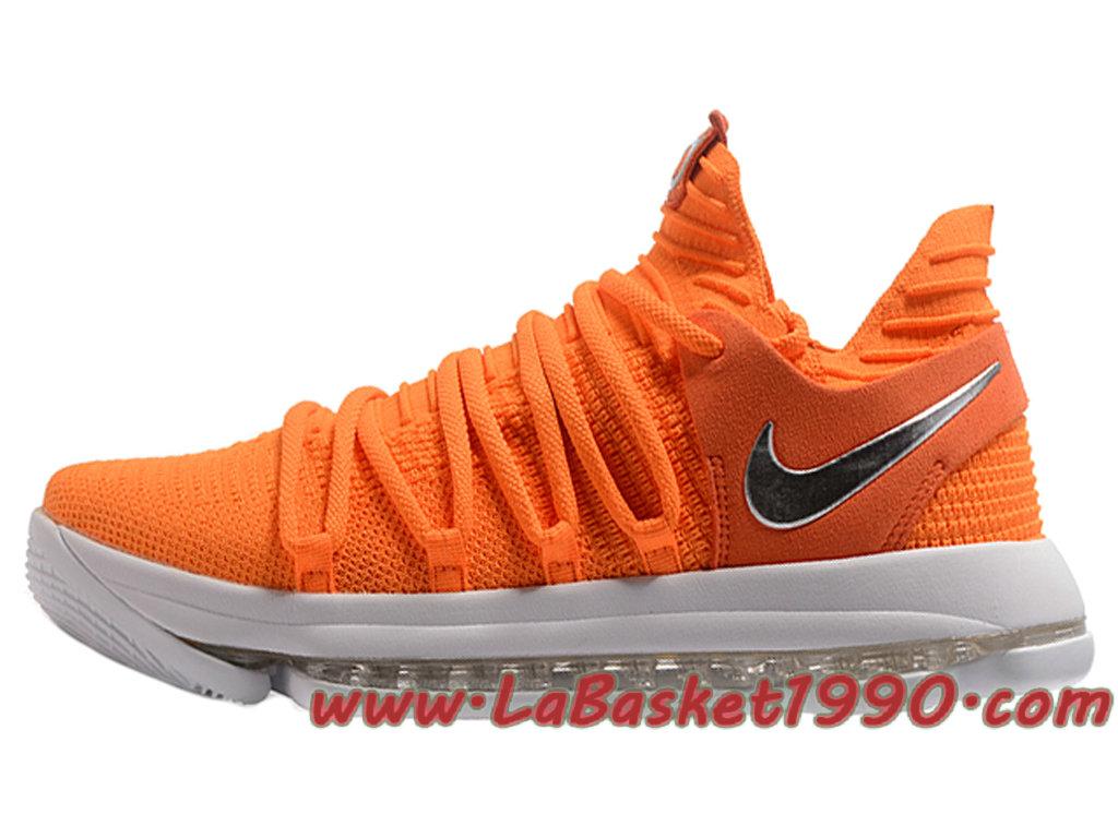 c1d98ab1c95b4e Nike Zoom KD 10 EP Chaussures de BasketBall Pas Cher Pour Homme Orange Blanc  ...