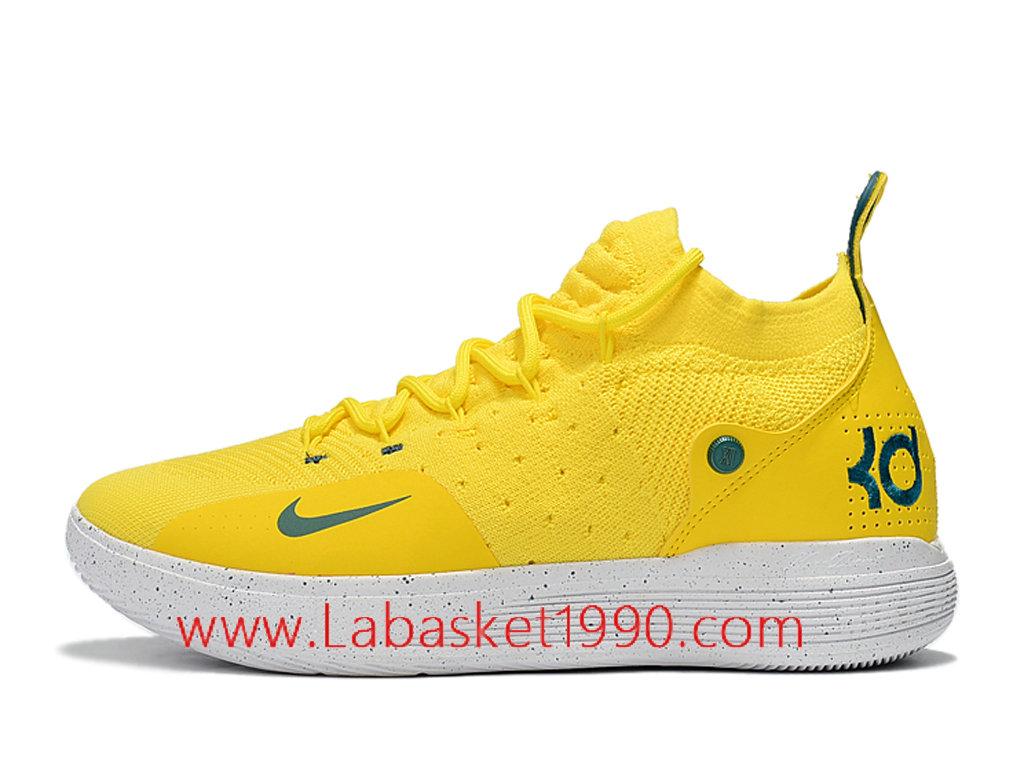 cheap for discount 93d85 3d823 Nike Zoom KD 11 EP Chaussures de BasketBall Pas Cher Pour Homme Jaune Blanc  AO2604- ...