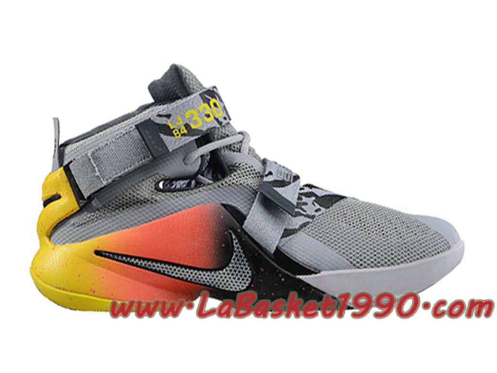 Nike Zoom LeBron Soldier 9 749498-A012 Chaussures Nike Basket Pas Cher Pour  Homme Gris b552c8a0abef